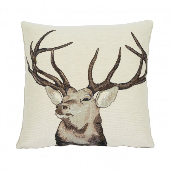 coussin cerf nature